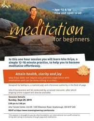 [free] Meditation For Beginners on Sun, Sept 29, 2019 at 2 pm, Toronto