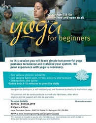 [free] Yoga For Beginners on Sunday Sept 22. 2019 at 2.30 pm, Burlington