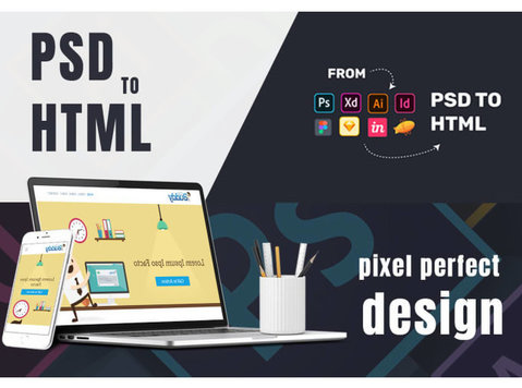convert your psd to html , xd to html, sketch to html - Design de Web