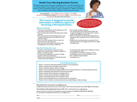 Health Care Nursing Assistant Correspondence Course - Nursing